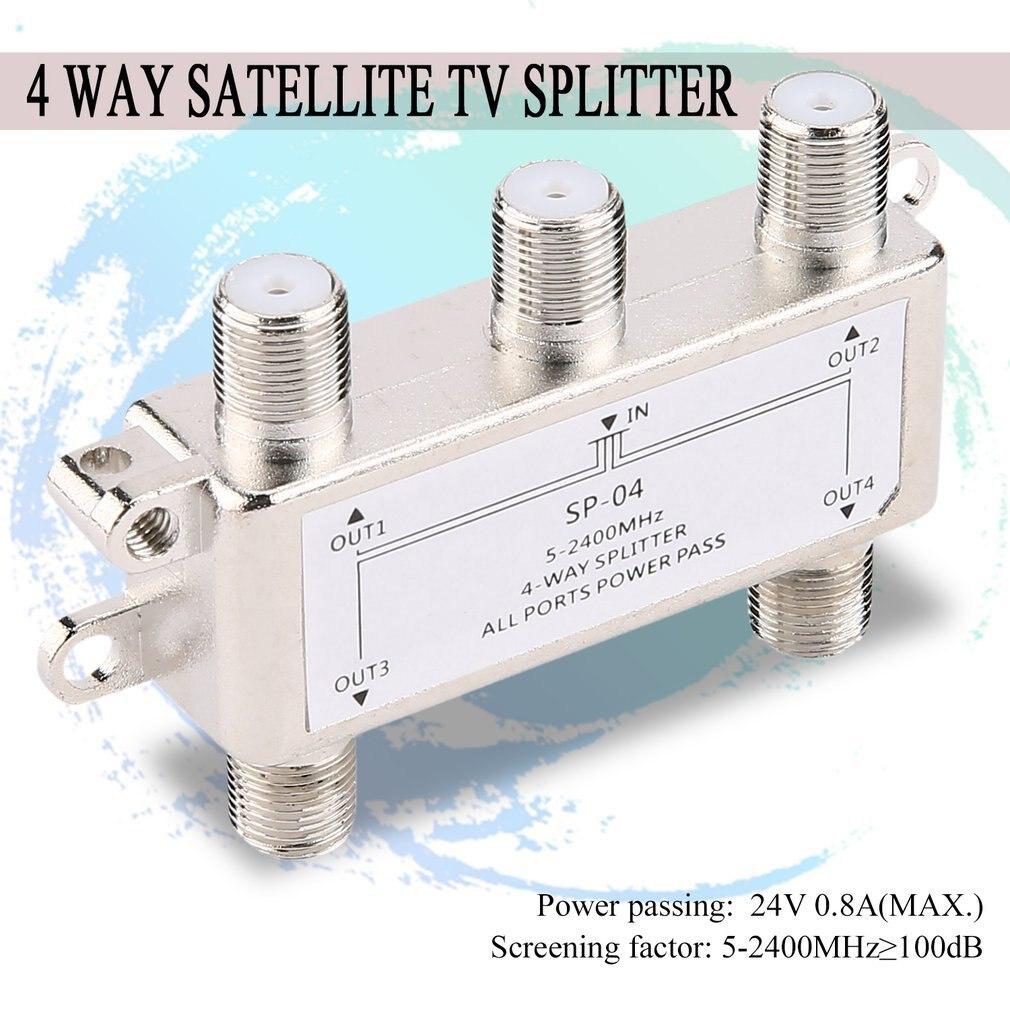Горячая продажа 4 Способ 4-канальный спутниковый/антенна/кабельное телевидение сплиттер дистрибьютор 5-2400 МГц F тип оптом на складе груза падения