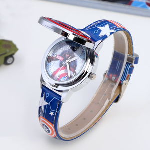 Image 4 - Marvel Avengers Captain America Child Leather PU Waterproof Children Quartz Flip Metal Case Watches Disney Super Hero Boys Clock