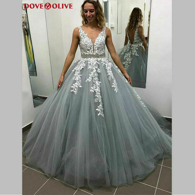 Light Blue A-Line Sleeveless   Prom     Dresses   2020 Beading Sequins Sashes Backless Women Party Long Evening   Dresses   vestidos de gala