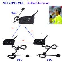 3 conductores que habla 1200m auricular de comunicación completo y doble para árbitro de fútbol, Judge Biker, intercomunicador inalámbrico BT