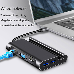 Image 5 - ประเภทCสถานีเชื่อมต่อHdmi USB 3.0 HDMI VGA RJ45 PD USB Hubสำหรับแล็ปท็อปMacbook Pro HPพื้นผิวDELL lenovo Samsung Dex Station