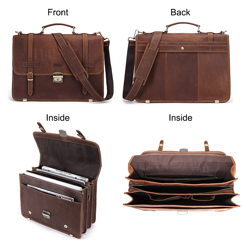 CONTACT'S Men's Bag Crazy Horse Leather Briefcase Men Business Bag For 14 5