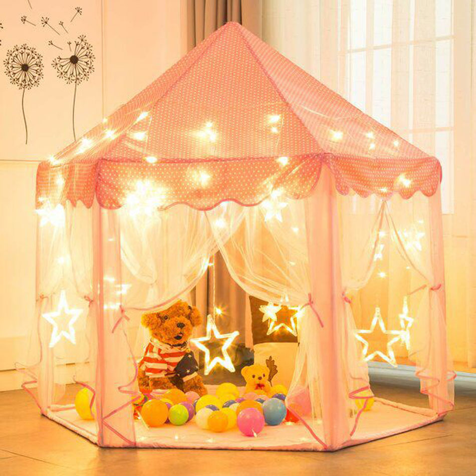 Pink Princess Children's Tent For Kids Tent Toys Portable Girls Tipi Infantil Children's House Vigvam Teepee Playhouse Baby Tent