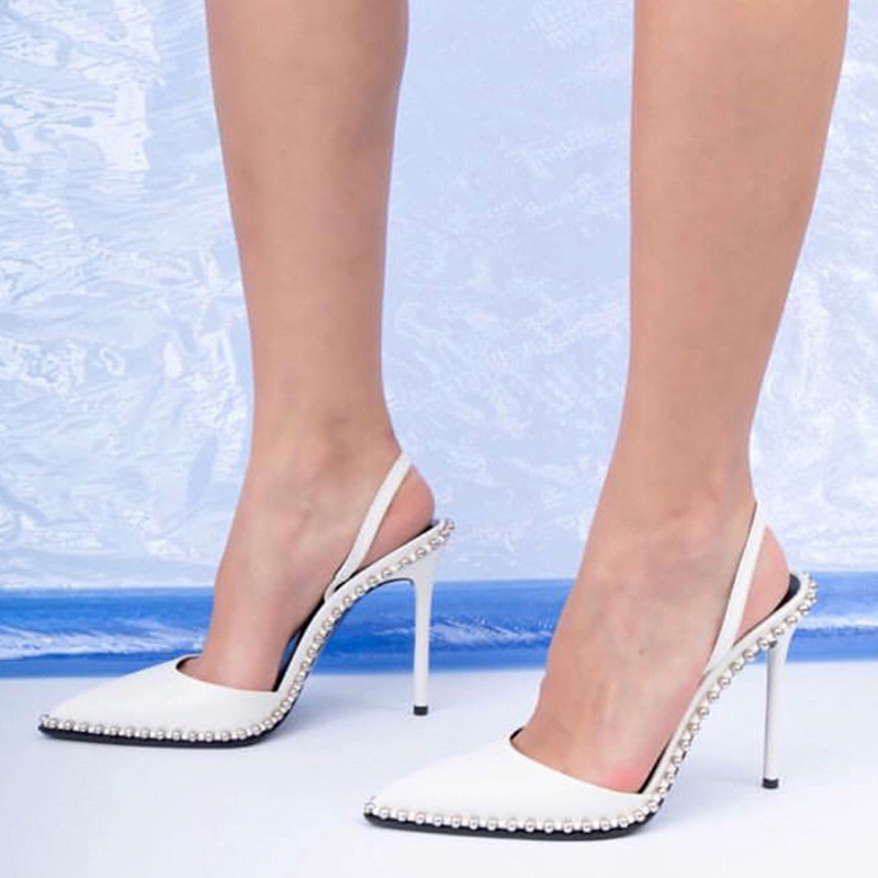 Europe And The United States 2019 Early Spring New Sexy Rivets Pointed Toe Stiletto Heel Women's Shoes