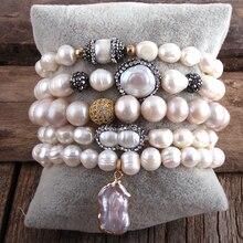 RH New Designer Boho Pearl Beaded Bracelet Freshwater Pearl Strand 5pc Bracelets Sets For Women  Jewelry Gift Dropship