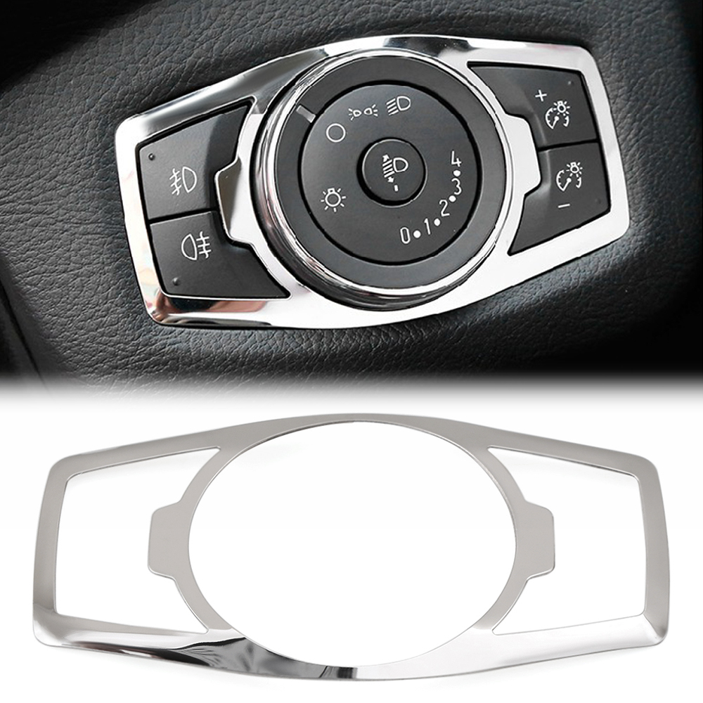 Stainless steel headlight switch cover stickers For Ford focus 3 MK3 MK4 KUGA Escape mustang 2015 Mondeo Fusion 2013 2016-in Car Tax Disc Holders from Automobiles & Motorcycles