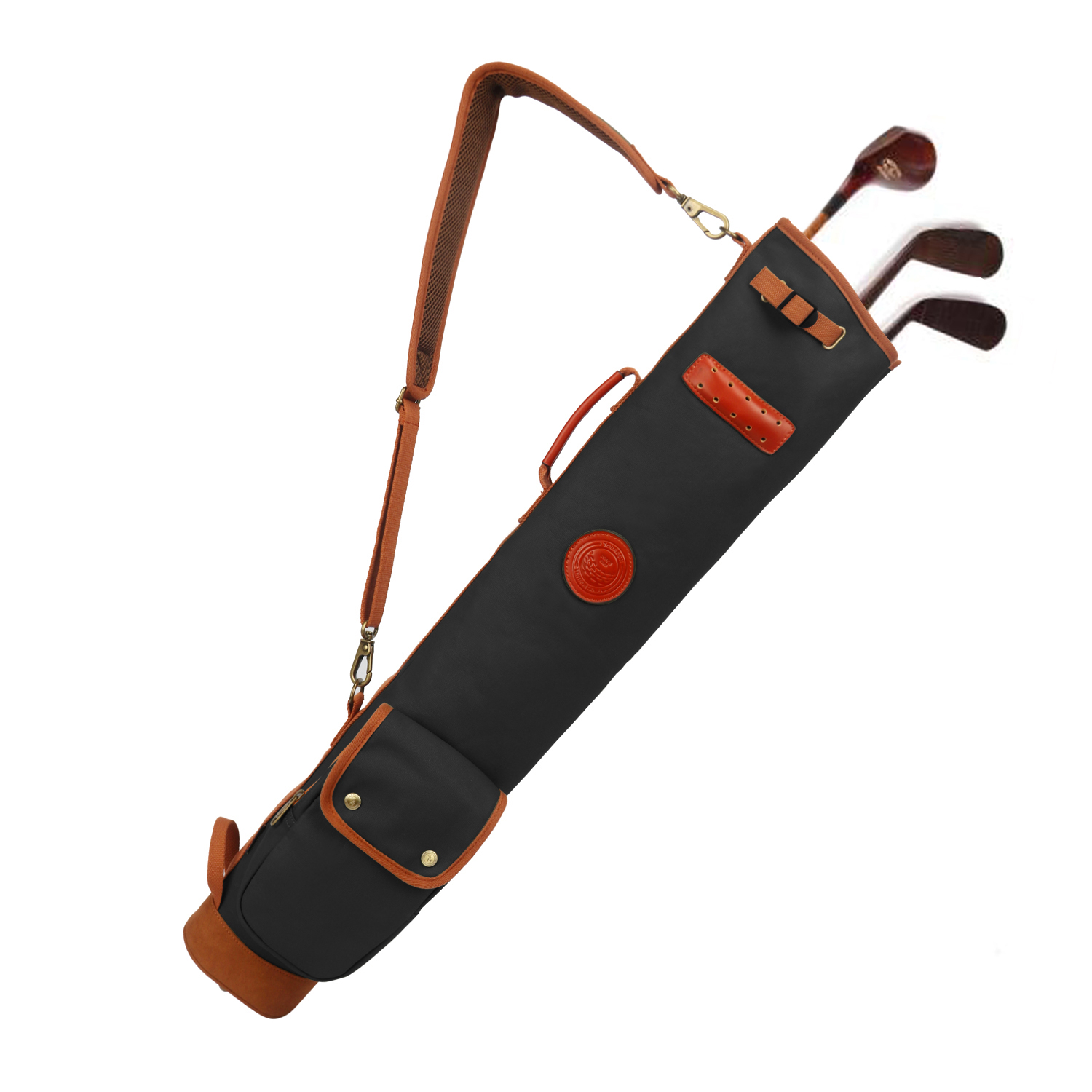 Tourbon Vintage Golf Bag Clubs Carrier Pouch Fleece Padded Pencil Style Waxed Canvas Water Repellent Cover 90CM