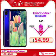 Blackview A60 4080 Mah Smartphone Android 8.1 Quad Core 1 Gb Ram 16 Gb Rom 6.1 19.2: 9 Waterdrop Screen 3G Mobiele Telefoon