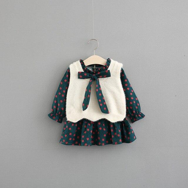 בנות בגדים סטי בגדי ילדי סתיו אופנה סגנון בנות שמלה + סוודר אפוד 2Pcs חליפת תינוק ילדים בגדים עם גדול קשת 0 4Y