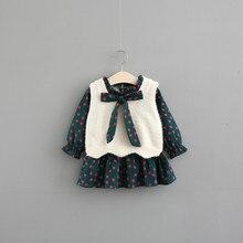 여자 옷 세트 어린이 의류 가을 패션 스타일 여자 드레스 + 스웨터 조끼 2 pcs 정장 아기 아이 옷 큰 활 0 4y