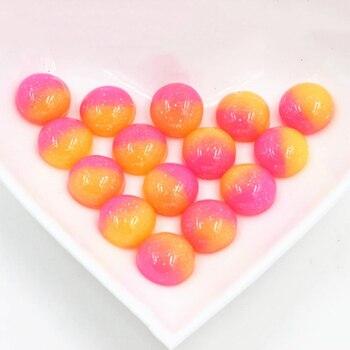 Nueva moda 40 Uds 12mm colorido Color caramelo cristal jalea serie plana de resina cabujones Cameo H6-55