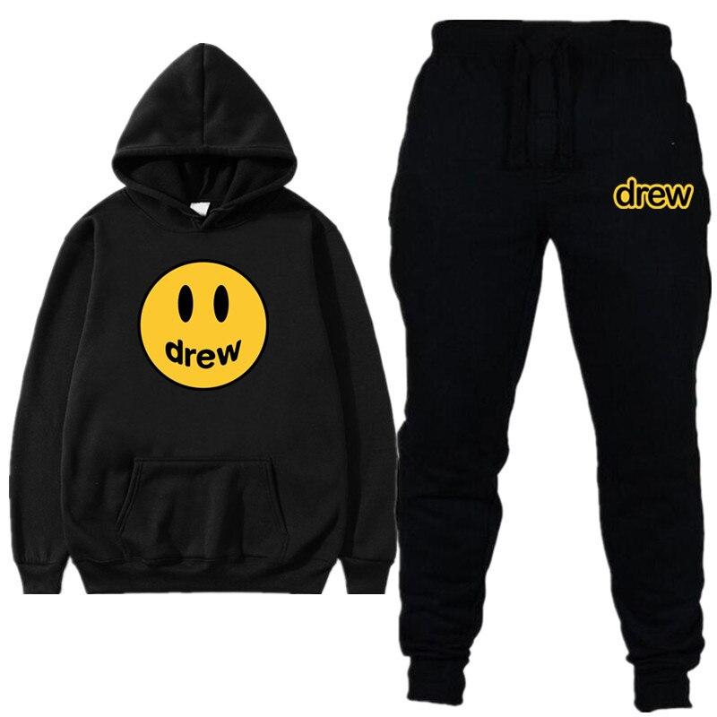 Men Clothes Tracksuit Men Sets Fashion Justin Bieber The Drew House Smile Face Print Men/Women Sportswear Suit Tracksuit Women