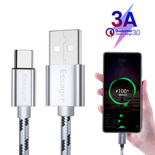 лучшая цена Essager USB Type C Cable 3A Fast Quick Charge 3m USBC Type-C Cable for Xiaomi K20 Samsung S10 Oneplus 7 Pro Mobile Phone USB-C
