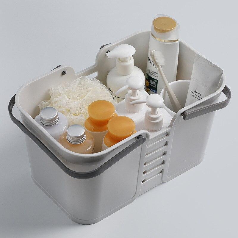 Household Hand Bath Basket Plastic Bathroom Toiletries Storage Basket Rectangular Bathroom Debris Storage Basket