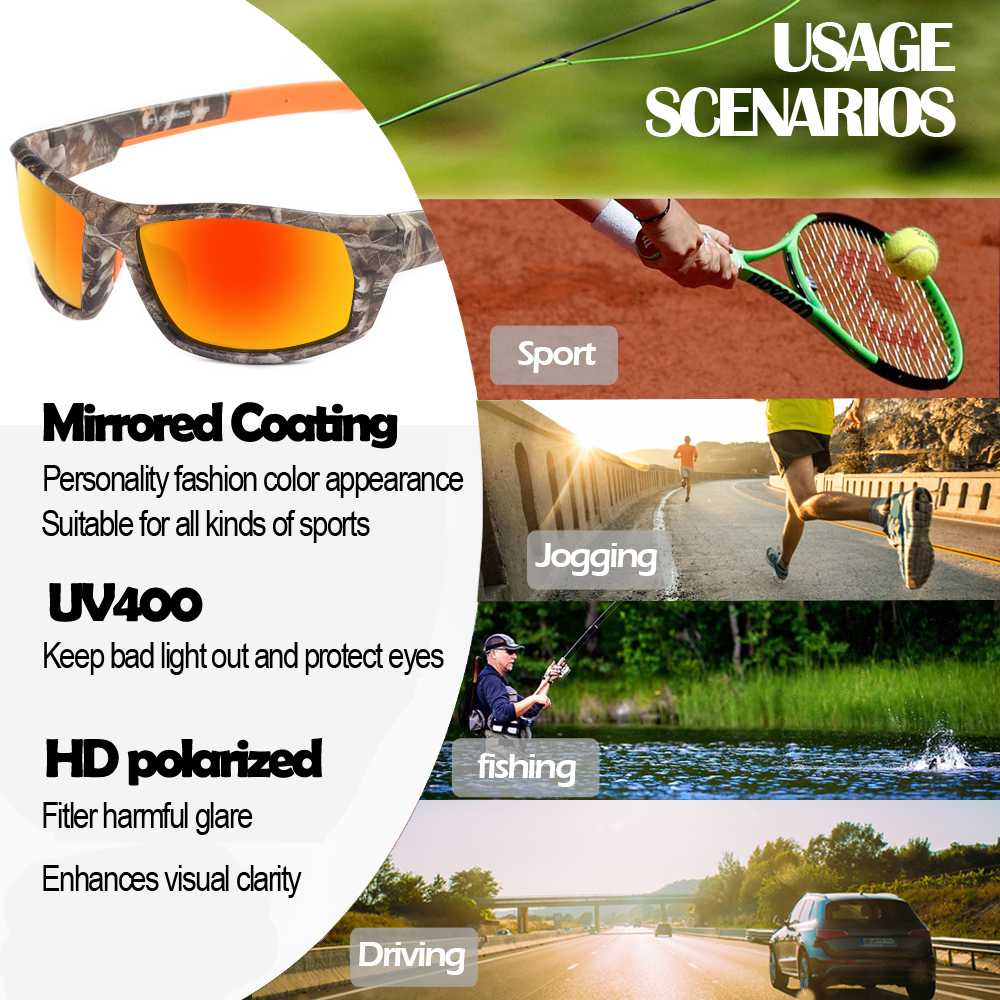 Camouflage Polarized Cycling Sunglasses Driving Fishing Sports UV400 Goggles