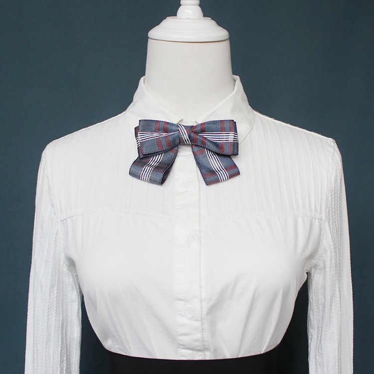 Designers coréens mode tissu treillis filles noeud papillon col de chemise jupe ruban de banque noeud papillon 11*7.5cm femmes vêtements accessoires