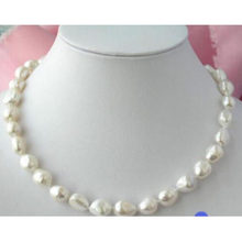 Natural 11-13mm white baroque freshwater cultured pearl necklace 46CM>bead charm body jewelry charm jewelry(China)