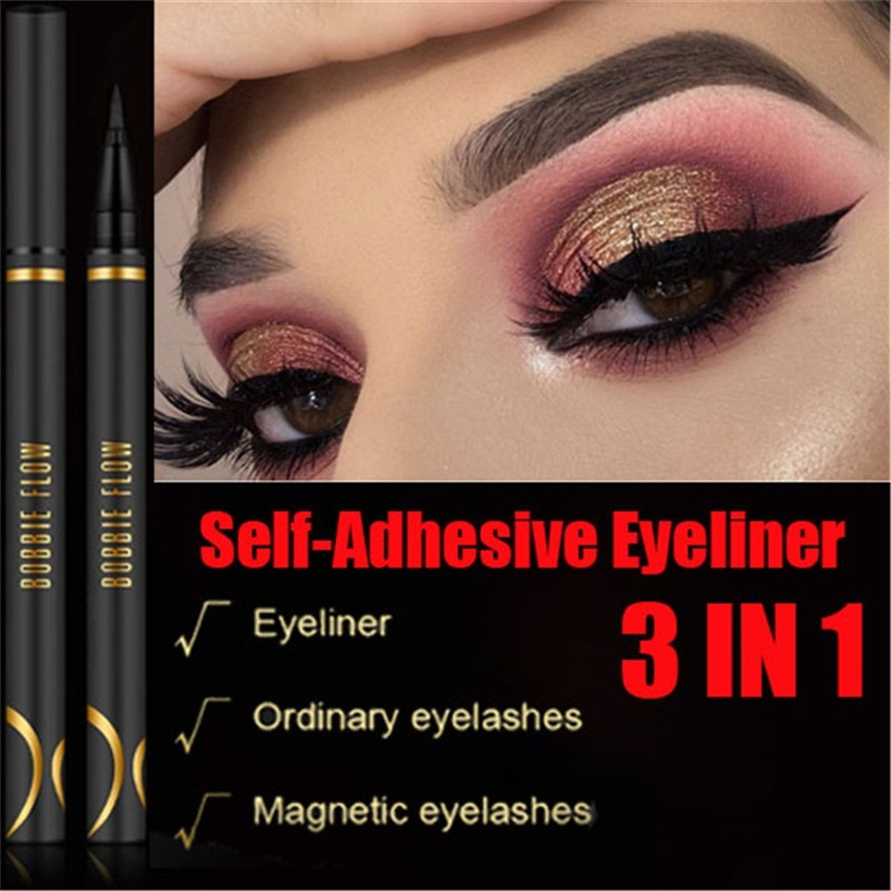 Waterproof Liquid Eyeliner New Self-Adhesive Eyeliner Non-Blooming Quick-Dry Eyeliner Black Long-lasting Eye Liner Pen Pencil