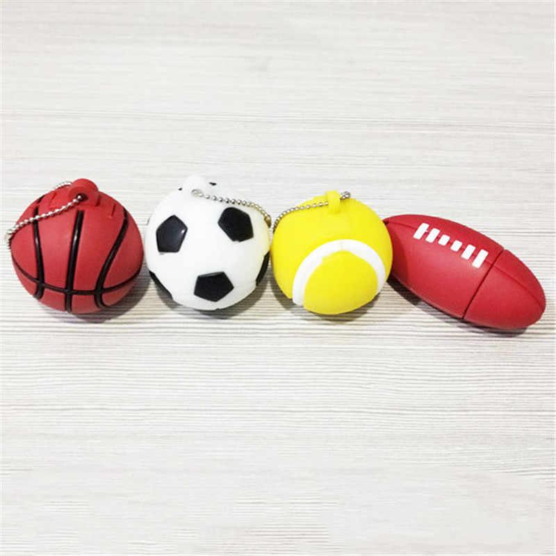 Clé usb dessin animé basket-ball football rugby golf tennis stylo lecteur 4g 8g 16g 32g 64g flash mémoire sport balle pendrive cadeau