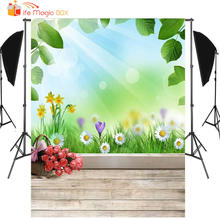 LIFE MAGIC BOX Birthday Background Green Leaves Flower Wood Floor Cute Kids Photography Backdrops(China)