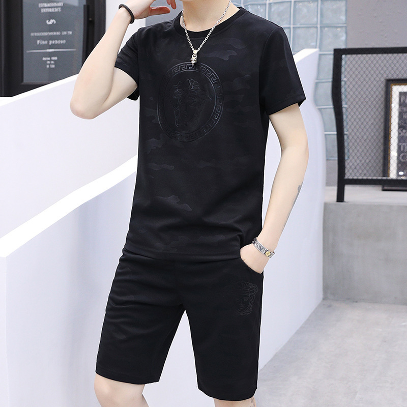 Men's Xia T-shirt Short Sleeve Leisure Suit Men Trend Summer INS New Style Sports Youth Handsome Black And White With Pattern Ca