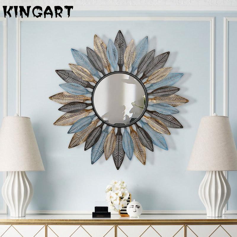 Big Wall Mirror With Frame Metal Round Decorative Mirror Home Decor Living Room Large Wall Hanging Mirror Retro Wall Art Ornamen|Decorative Mirrors|   - AliExpress