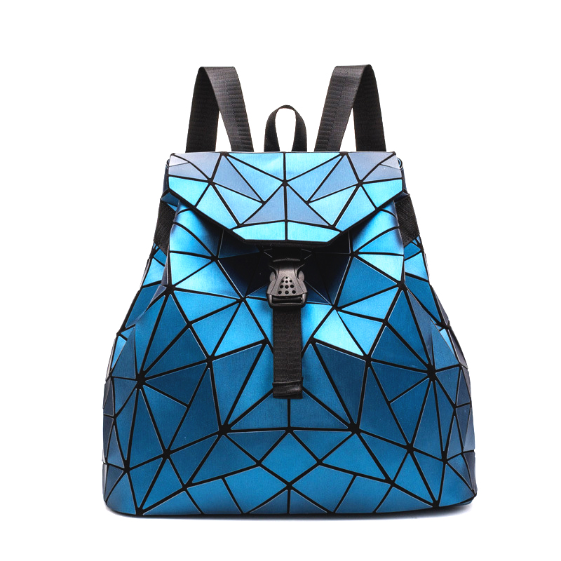 Women's Stylish Backpacks Geometric Foldable Big Capacity School Bags Laminated Leather Drawstring mochilas feminina