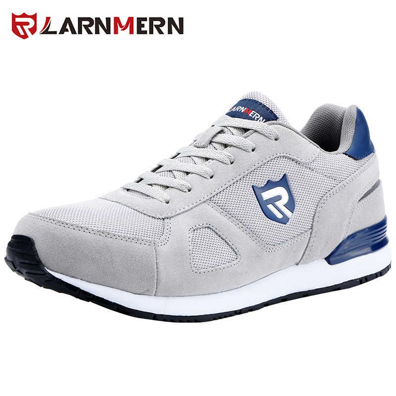 LARNMERN ผู้ชายทำงานความปลอดภัยรองเท้าน้ำหนักเบา Breathable Anti-smashing ลื่นสะท้อนแสง Casual รองเท้าผ้าใบ