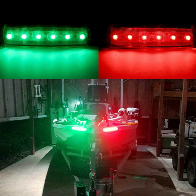 Car Styling High Quality Red+Green Navigation 6LED Lights Stern Boat Starboard Lamp Set DC12V Waterproof Low Power Consumption 3