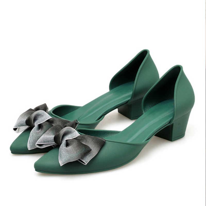 Primavera scarpe da donna papillon due pezzi Slip On décolleté da donna punta a punta scarpe basse in gelatina tacco medio calzature femminili comode