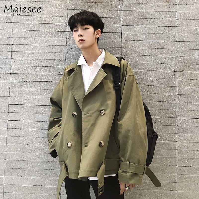 Jackets Men Solid Double Breasted All-match Chic Harajuku Mens Coat Turn-down Collar Streetwear Simple Loose 2XL Pockets Fashion