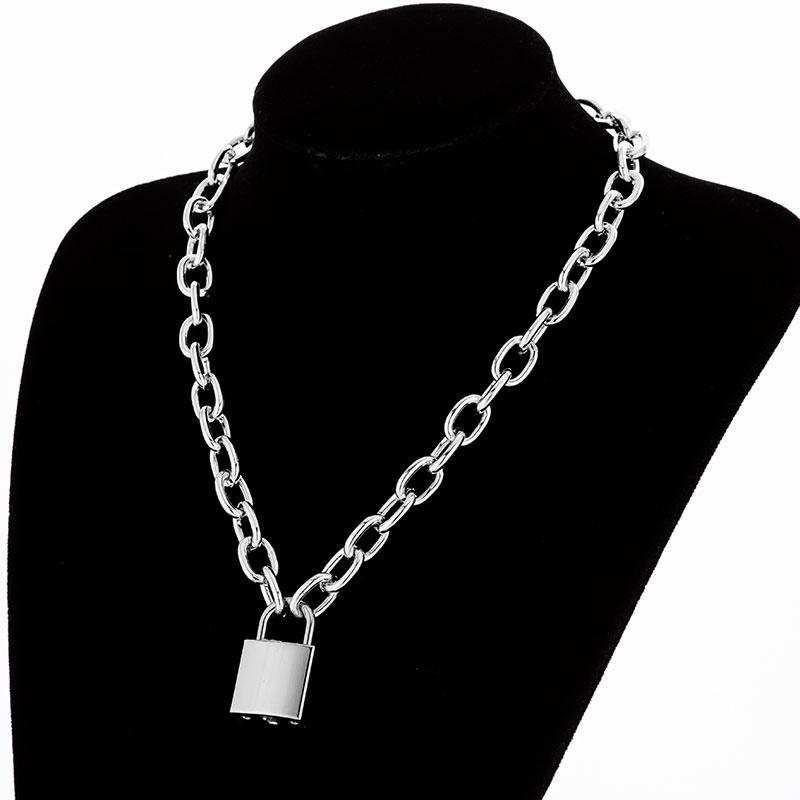 Hdacfcc08c7b24c31bec4139c5cee9b93R - KMVEXO Multilayer Lock Chain Necklace Punk Padlock Key Pendant Necklace Women Girl Fashion Gothic Party Jewelry