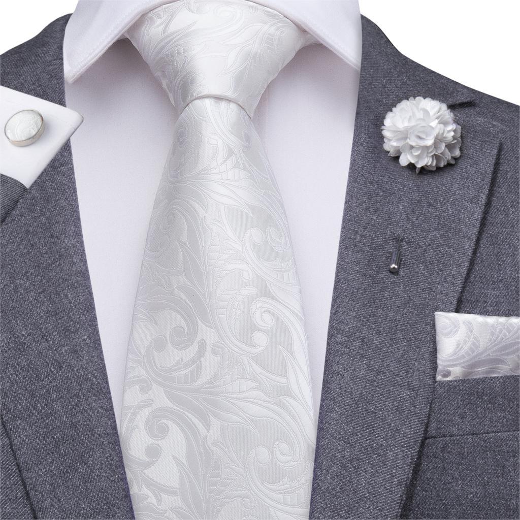 White Tie For Men Gray Silk Ties Floral Necktie Paisley Cravat Boutonniere Pocket Square Cufflink Gift Box Formal 8.5cm Hi-Tie