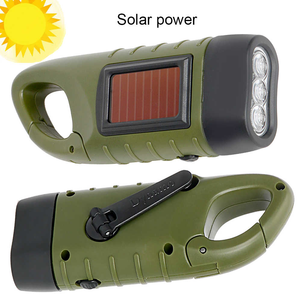 Đèn Pin LED Xách Tay Tay Quay Động Lực Đèn Pin Đèn Lồng Chuyên Nghiệp Năng Lượng Mặt Trời Lều Đèn Cắm Trại Leo Núi