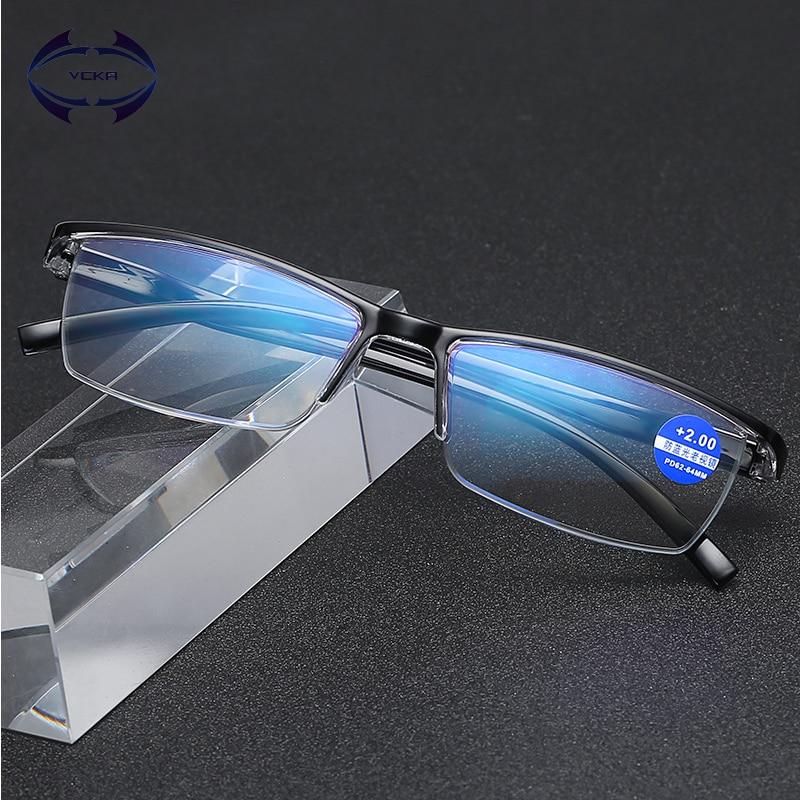 VCKA Anti-blue Light Resin Reading Glasses Men Women Metal Half Frame Hyperopia Eyeglasses +1.0 1.52.02.5 3.0 3.5 4.0 Diopter