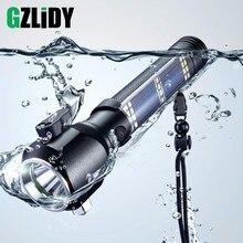 Usb recarregável solar led lanterna multi-função de emergência tocha de segurança martelo bússola de energia móvel para atividades ao ar livre