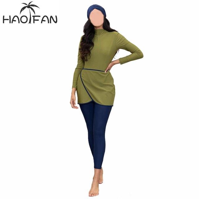 Haofan 2020イスラム教徒水着女性ささやかなパッチワークヒジャーブ長袖スポーツ水着3個イスラムburkinis着用水着4XLムスリムの水着