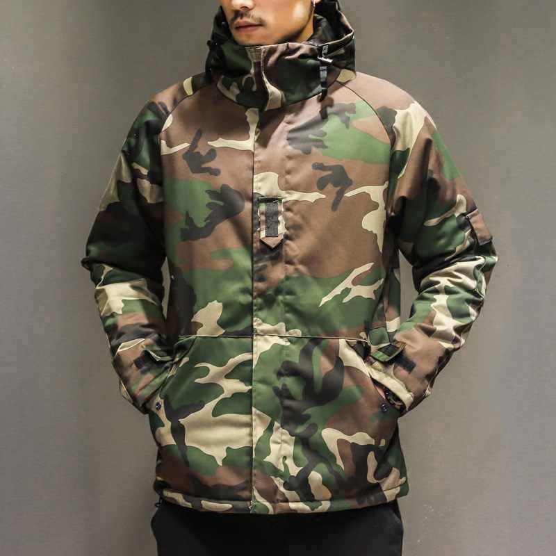 Chaqueta de invierno para hombre, Parkas militares, chaqueta para hombre, chaqueta gruesa de camuflaje de nailon, chaqueta con capucha y cremallera de talla grande
