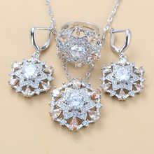 Fashion Vintage Accessories 6-Color Big Jewelry Sets 925 Sterling Silver Champagne CZ Dangle Earrings And Ring For Women Flower Sets(China)
