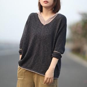 Image 2 - Johnature pull à capuche pour femmes, pull à manches longues, style Patchwork, tricot en coton, vêtement coréen, 7 couleurs, automne 2020