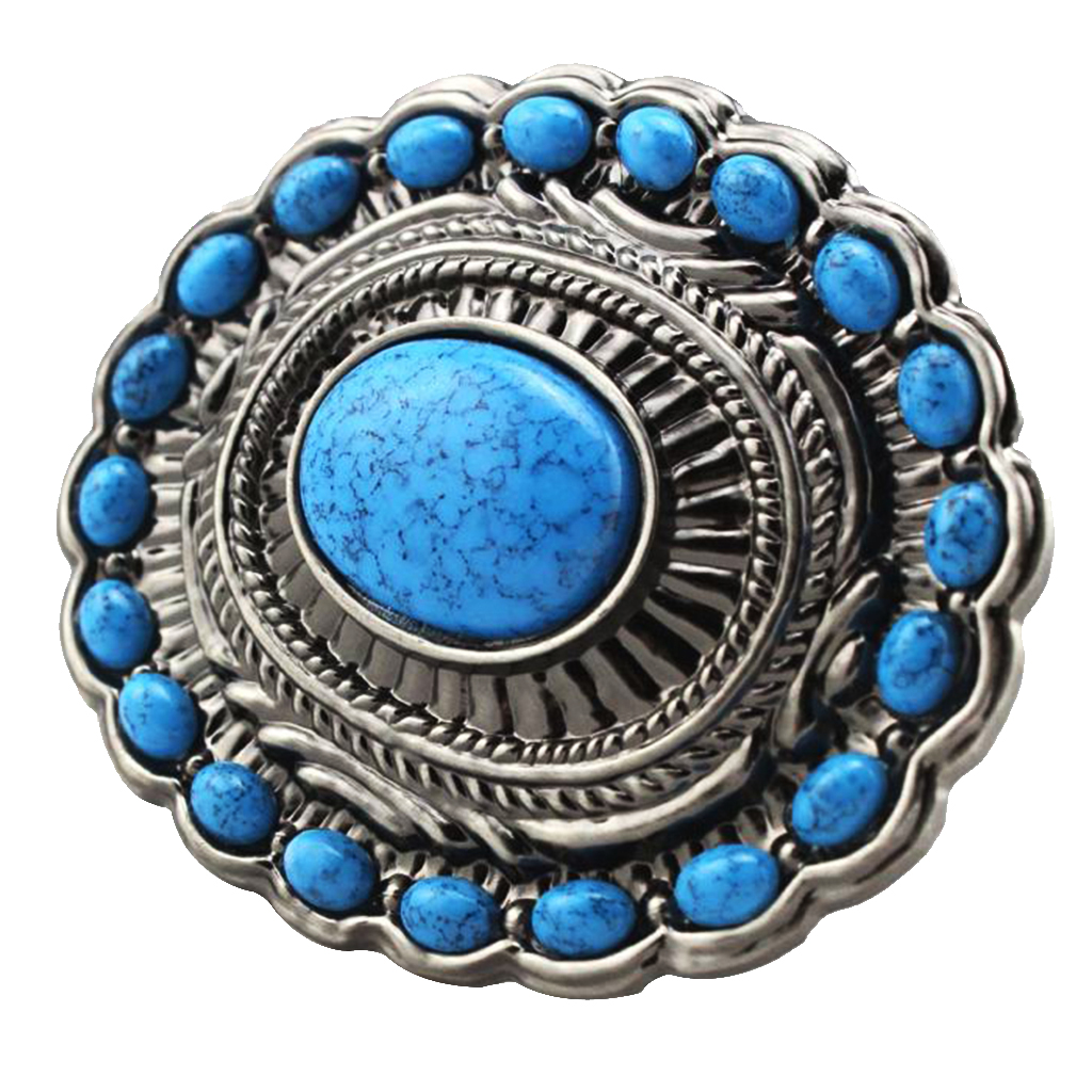 Vintage Western Belt Buckle Bohemian Style Turquoise Beads Zinc Alloy Buckle Cowboy Bowgirl Fashion Belt Buckle Blue Point