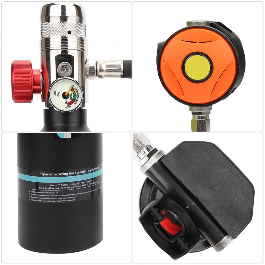 Image 4 - 1L Diving Oxygen Cylinder with Valve Inflator Goggles Kit Scuba Diving Cylinder Underwater Respirator Snorkeling Oxygen TankSnorkels   -