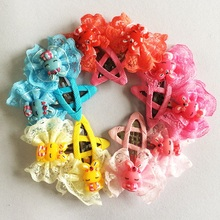 1 Pcs/lot Wholesale Lace Rabbit Candy Color kids Girls Hairpin BB Clips Snap Band Hairpins girls Kids Hair Accessories fashion korean style girls hairpin snap hair band hairpins handmade hair bb clips cute plaid hairpins kids hair accessories