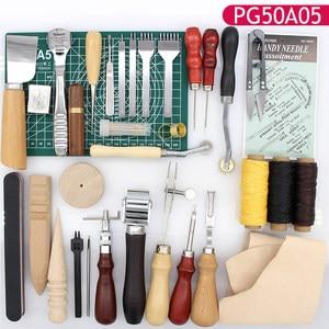 Image 4 - Skórzane przyrządy do szycia DIY zestaw do szycia ręcznego z szydło woskowane naparstki nici do szycia skóry, płótno, podstawowe narzędzia dla początkujących