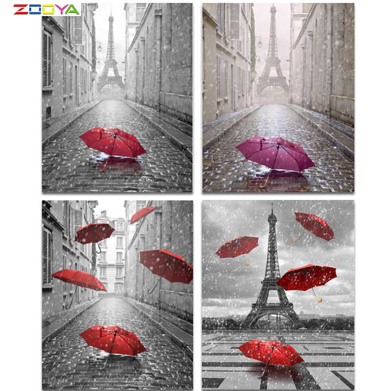 5D DIY Diamond Lukisan Payung Merah Bordir Diamond Lukisan Cross Stitch Menara Eiffel Rhinestone Mosaik Lukisan BJ1330