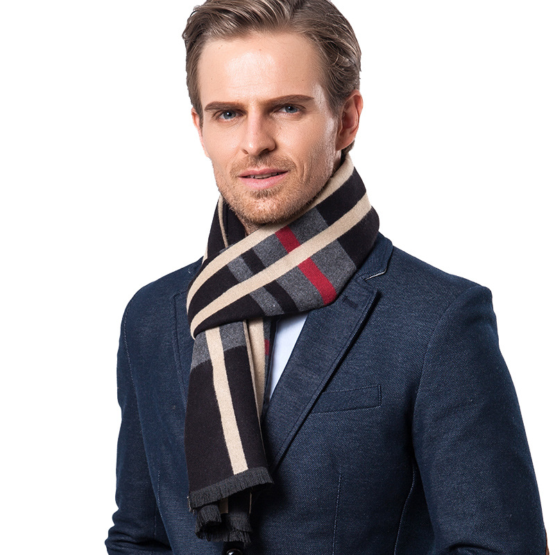 2018 Autumn Classic Vertical Stripe Plaid Casual Scarf Business Gift Warm Faux Cashmere Galling MEN'S Scarf
