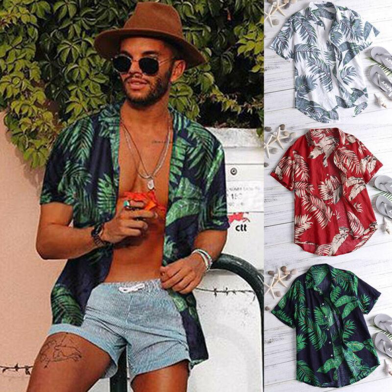 Мужская гавайская рубашка, летняя Винтажная летняя пляжная Повседневная Цветочная рубашка с коротким рукавом, топы, футболки