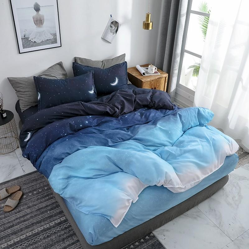 30 Starry Night Sky Bedding Sets Moon And Star Pattern Gradient Color Duvet Cover Set Bed Sheet Pillowcases For Boys Multi Size