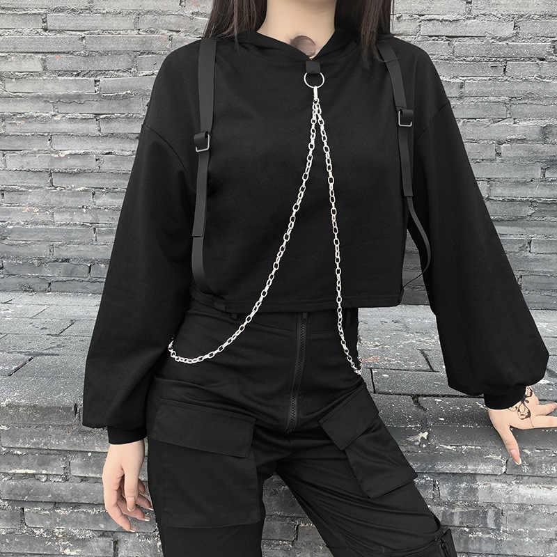 Femmes Capuche Manches Longues Chemise Haut Court Capuche Pull Sweat Gothique