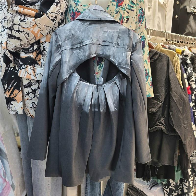 Backless Blazer Coat Women 2020 Spring and Autumn New Loose Handmade Splash-Ink Suit Jacket Female Top Harajuku Coats